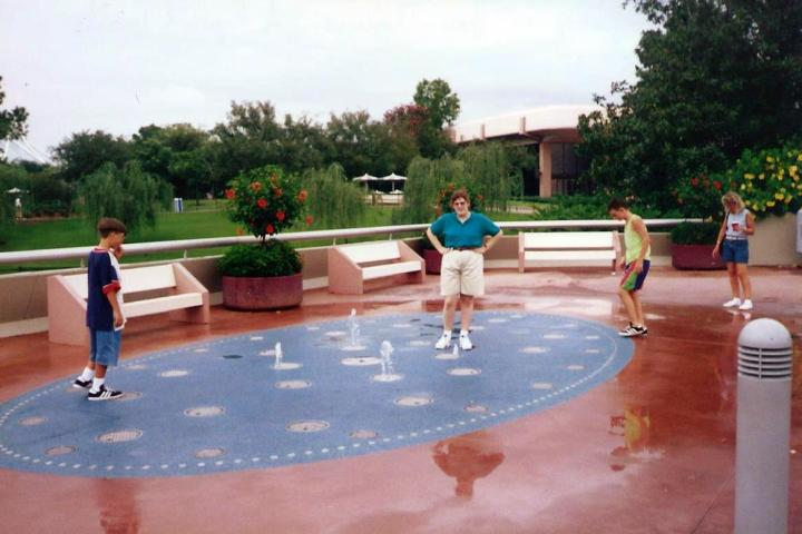 Betsy playing in fountains at Epcot Center -- Sept. 6, 1995.
